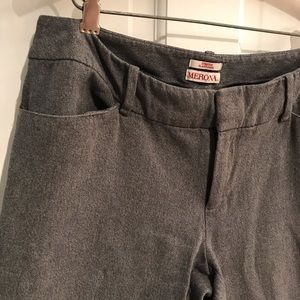 Gray Ankle length/cropped straight leg work pants
